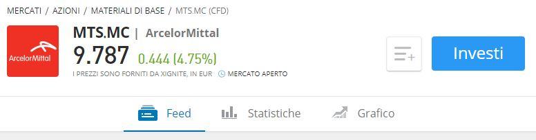 Comprare azioni ArcelorMittal eToro