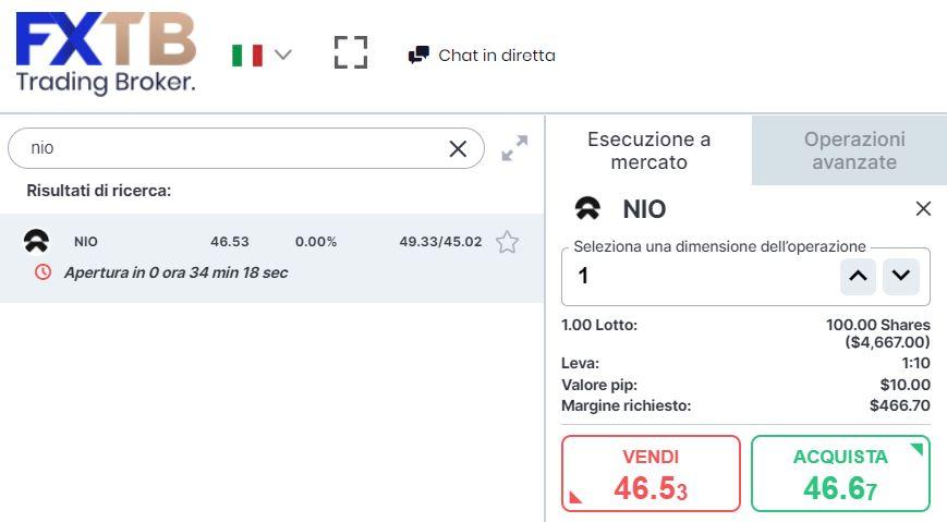 Comprare azioni Nio con forextb