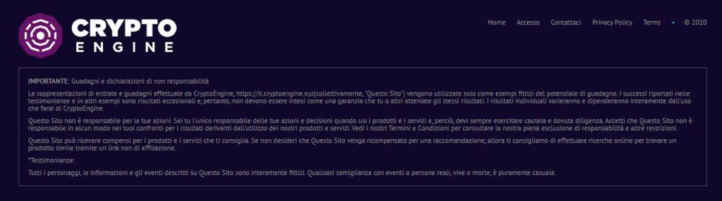 disclaimer Crypto Engine