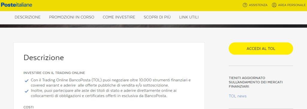 trading online bancoposta come funziona